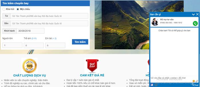Khung Vchat nằm bên phải trang web như trên hình